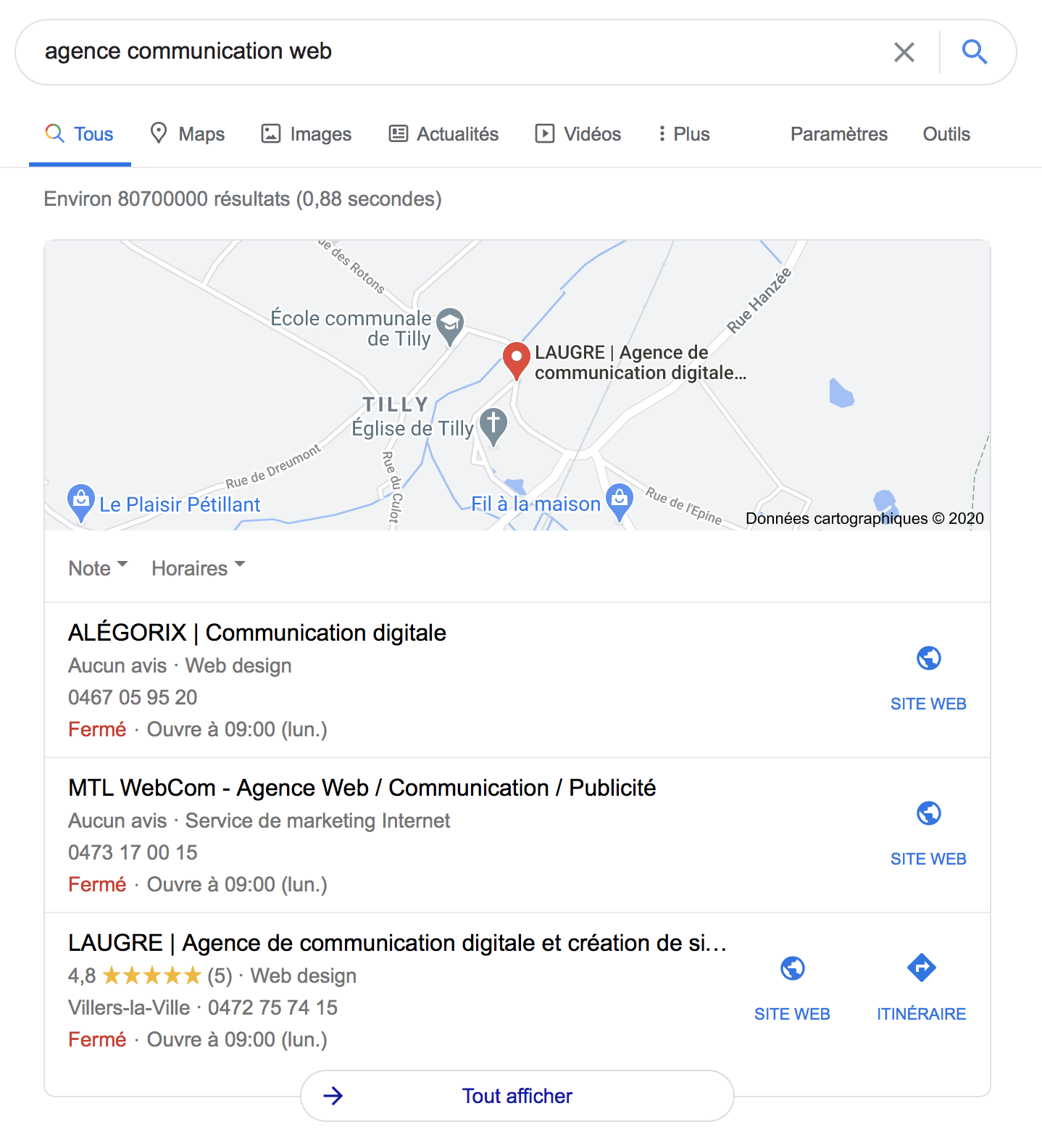 Exemple de page Google My Business recherche locale à Charleroi